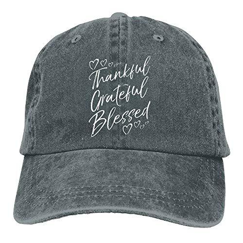 Naiyin Unisex Grateful Thankful Blessed Vintage Jeans Baseball Cap Classic Cotton Dad Hat Adjustable Plain Cap