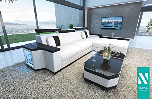 NATIVO© DESIGNER KUNSTLEDER SOFA CESARO MINI MIT LED BELEUCHTUNG Sofa Couch Wohnlandschaft