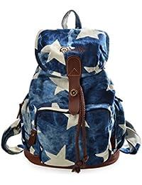 6cd6537f567 DGY - Moda mochila de lona y PU cuero con diseño casual para mujer Bolsa de