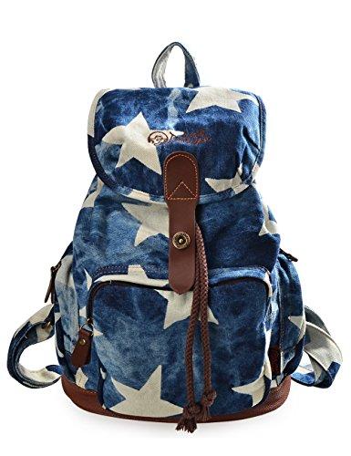 DGY - Moda mochila de lona y PU cuero con diseño casual para mujer Bolsa de Viaje Mochila de a diario 117 Denim estrella