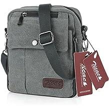 Zicac- Los nuevos bolsos de hombres de la vendimia de la lona multifunción Viajes Satchel / Mensajero bolso pequeño (Gris)