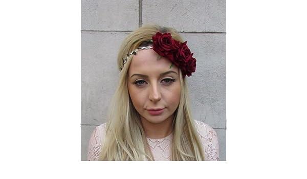 Burgundy Wine Red Rose Flower Garland Headband Hair Crown Bridesmaid Bridal 5347