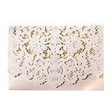 Hochzeitseinladung Wishmade Weiß Blumen Lasercut Spitze Design zum Selbstbedrucken Blanko Set 50 Stücke inkl Umschläge