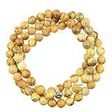 Jaspis Gelbe Om Mani Padme Hum 6mm Wickelarmband | Edelstein Armband mit 6 mm Perlen und 1 Silber Mantra Perle