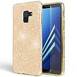 NALIA Hülle kompatibel mit Samsung Galaxy A8 (2018) Glitzer Handyhülle Ultra-Slim Silikon Case Back-Cover Schutzhülle, Glitter Handy-Tasche Bumper, Dünnes Bling Phone Etui, Farbe:Gold