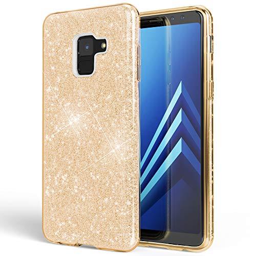NALIA Hülle kompatibel mit Samsung Galaxy A8 (2018) Glitzer Handyhülle Ultra-Slim Silikon Case Back-Cover Schutzhülle, Glitter Handy-Tasche Bumper, Dünnes Bling Phone Etui, Farbe:Gold Phone Cover Glitter