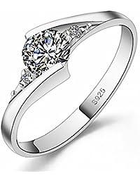 Funda inspirado Halo 1,25 quilates diamante de imitación anillo de plata ...