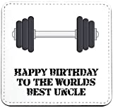 Co23 Untersetzer mit englischer Aufschrift'Happy Birthday to the Worlds Best Uncle', Hantel-Geschenk