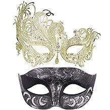 Thmyo Pack de 2 máscaras de Disfraces venecianas para Parejas, Mardi Gras Halloween Ball Mask