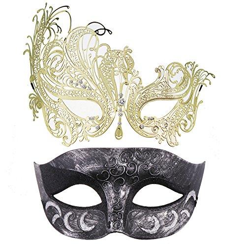 Thmyo 2 Pack Venezianische Masquerade Maske für Paare, Mardi Gras Halloween Ball Maske (Antikes Silber Schwarz & Gold)