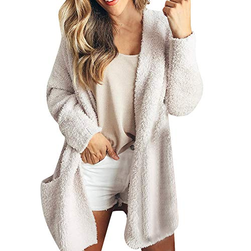 TianWlio Damen Strickjacken Frauen Lässige Sweatshirt Solide Winter Warme Wolle Taschen Cardigan Mantel Outwear -
