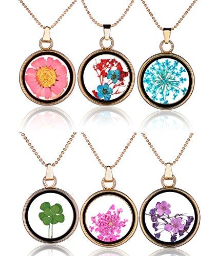Yumilok Mehrfarbige Trockene Blumen Transparent Herz/Rund Anhänger Halskette Legierung Glas Flasche Kettenänhanger für Damen Mädchen (Multi-A) -