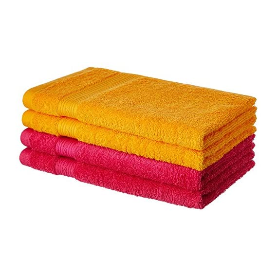 Amazon Brand - Solimo 100% Cotton 4 Piece Hand Towel Set, 500 GSM (Paradise Pink and Sunshine Yellow)
