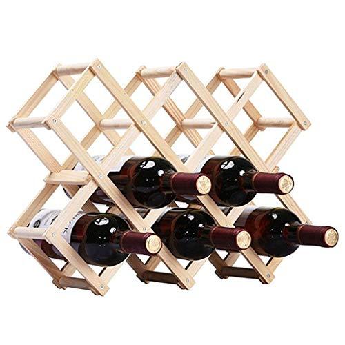 GWFVA Weinregal für 10 Flaschen stapelbar freistehende natürliche Kiefer Weinregal Display Lagerung Inhaber Regale Stehen -