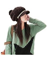 Demarkt Damen Hand Gestrickte handgestrickt Mütze Wintermode Kappe Hut Beanie Wintermütze Cap Hüte