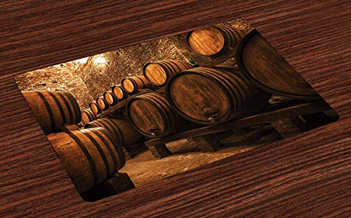 Soefipok Weingut Tischsets, Fässer Lagerung Wein Italien Eiche Container in Cold Dark Underground Keller, waschbare Stoff Tischsets Esszimmer Küchentisch Dekoration , 6er Set - Wein-lagerung-container