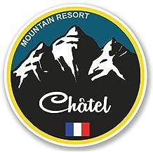 2 x 20cm/200 mm Chatel Ski Snowboard Auto-adhésif Autocollant Vinyle Autocollant pour portable Assurance voiture signer Fun #5334