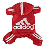 Scheppend Adidog Pet Clothes for Dog Cat Puppy Hoodies Coat Winter Sweatshirt Warm Sweater Red Large