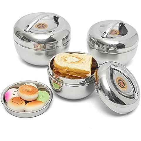 Aliciashouse Giapponese di Apple Forma dell'isolamento termico della scatola di pranzo in acciaio inox Bento Box contenitore di alimento -1000ml