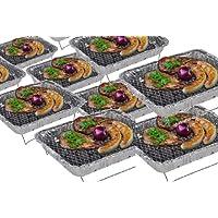 6 x Vielseitiger Minigrill MIT HOLZKOHLE + ZÜNDFOLIE FÜR SCHNELLES UND LANGES GRILLEN Einweggrill CAMPINGGRILL mit Grillrost Edelstahl Grill Holzkohlegrill Einmalgrill Wegwerfgrill Sofortgrill