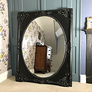 Ayers and Graces Heavily Ornate French Black Mirror Oval Glass (4ft 8