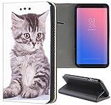 Samsung Galaxy S4 / S4 Neo Hülle Premium Smart Einseitig Flipcover Hülle Samsung S4 / S4 Neo Flip Case Handyhülle Samsung S4 Motiv (450 Baby Katze Grau)