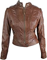 Ladies Real Leather Jacket Short Fitted Style Brown Timber Retro Chinese Collar