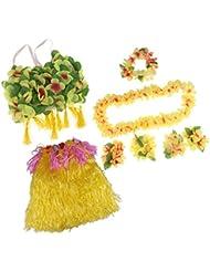 Sharplace Set/8pcs Falda de Danza de Hierba Hula de Mujeres Diadema Plusera y Collar Conjunto de Traje de Fiesta para Niños