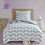 SCM Bettwäsche 135x200cm Grau Lila Mikrofaser 2-teilig Bettbezug & Kissenbezug 80x80cm Geometrisch Chevron Ideal für Schlafzimmer Nadia