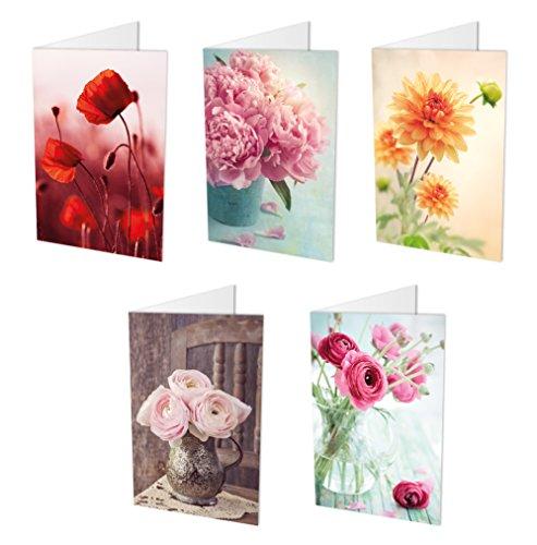 10 Blumenkarten (Klappkarten) im Set (5 Motive mit jeweils 2 Grusskarten) inklusive 10 haftklebender Umschläge, Geburtstagskarten, Grusskarten, Blumen (Blume Grußkarte)