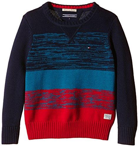 Tommy Hilfiger - Maglione Fayo Colorblock Cn Sweater L/S Bambino, Rosso (Tango Red 642), 80