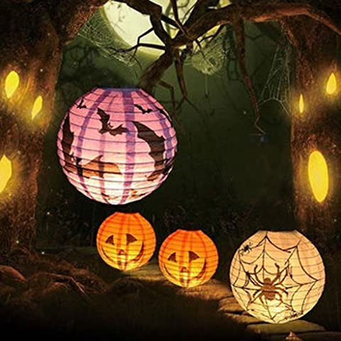 Charmed Halloween spider pumpkin bat paper lanterns in orange purple and white (9 count) by Charmed