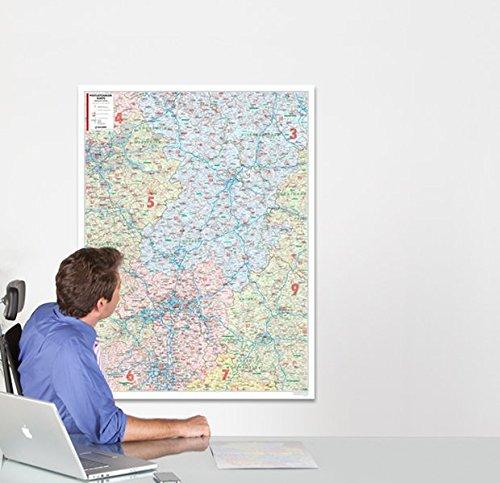 BACHER Postleitzahlenkarte Hessen Maßstab 1:250 000, Papierkarte gerollt: Die Postleitzahlenkarte Hessen beinhaltet 1- und 2-stellige Postleitgrenzen ... Ortsteile mit der Sterndarstellung.