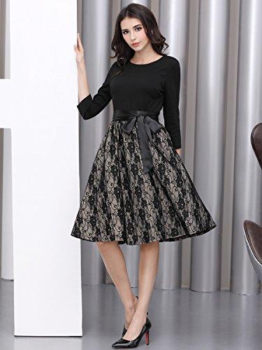 Miusol Elegant Vintage Spitzenkleid 3/4 Arm Hochzeit Brautjungfer Schleife Abendkleider - 4