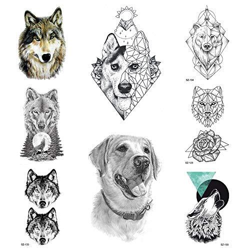 oräre Aufkleber Frauen Körperkunst Malerei wasserdichte 3D Geometrie Labrador Hund Gefälschte Tätowierung Supplies10.5X6Cm ()