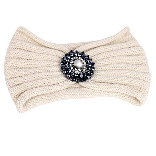 Tininna Bandeau en maille tricot, orné d'une pierre précieuse – Accessoire pour cheveux, chaud pour l'automne et l'hiver – Idéal comme turban, chauffe-tête ou serre-tête