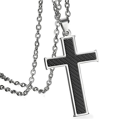 JewelryWe Schmuck Herren Anhänger Halskette Edelstahl Klassiker Kohlefaser Kohlenstoff Faser Kreuz Anhänger mit 55cm Kette Schwarz Silber