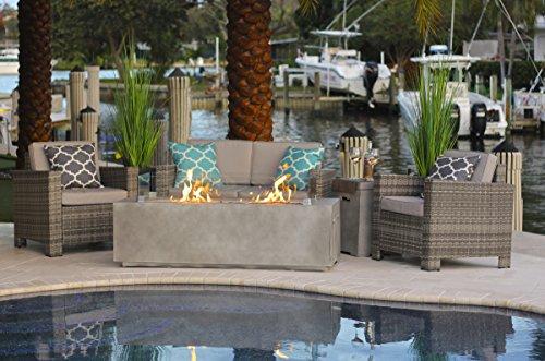 4Stück 152,4cm rechteckig modern Fire Pit Tisch W/Outdoor Patio-Möbel Set by Akoya Outdoor Essentials (Outdoor Patio-möbel-tabelle)