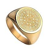 HIJONES Herren Edelstahl Retro Kompass Mysteriösen Ring 2 Farben Gold Größe 54
