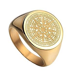 HIJONES Herren Edelstahl Retro Kompass Geheimnisvoller Ring 2 Farben Gold Schwarz