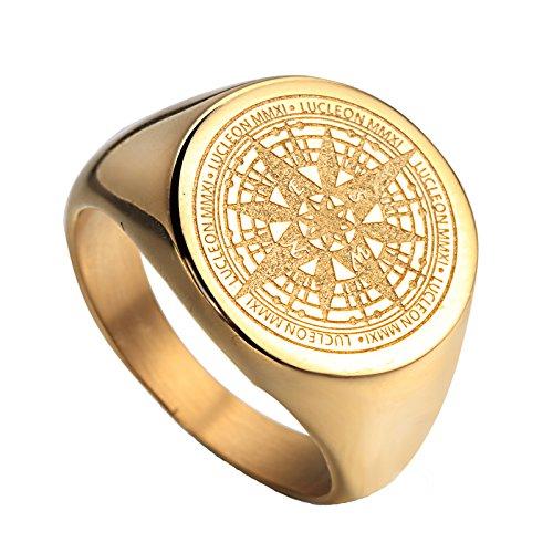 HIJONES Herren Edelstahl Retro Kompass Mysteriösen Ring 2 Farben Gold Größe 57 -
