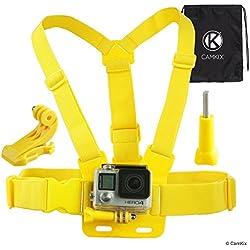Harnais de Fixation Poitrine pour GoPro par CamKix - Sangle Poitrine Réglable Compatible avec Caméra GoPro Hero5, Hero4, héros3+, Hero3, Hero2, et Hero - Inclut Également 1 Crochet J-Hook, 1 Vis de Fixation à Serrage Manuel, 1 Pochette à Cordon (Jaune)