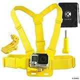 CamKix® Einstellbarer Brustgurt Halterung - Kompatibel mit allen GoPro Hero Modellen - Ebenfalls enthalten: 1x J-Haken, 1x Stativschraube, 1x Kordelzugtasche