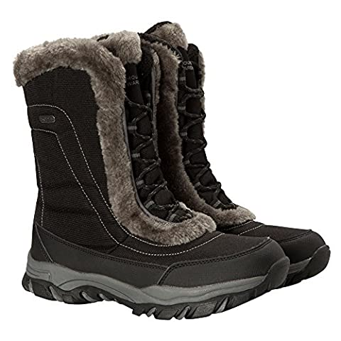 Mountain Warehouse Ohio Women's Snow Boot - Waterproof, Textile Upper with Durable & Breathable IsoTherm Lining, Rubber Outsole - Designed for superior fit and comfort Black 6 UK