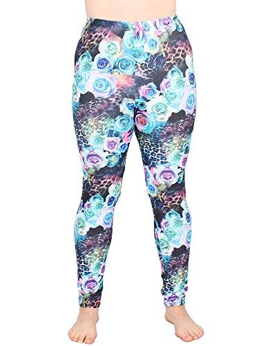 Leggins Damen Leggings leggings mit Muster bunt schwarz weiß elastisch 455 lang ( 2 / S/M ) - 2