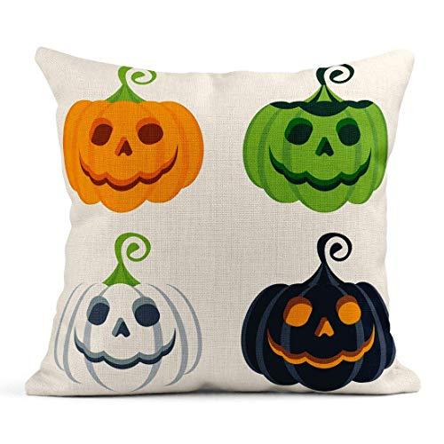 Dekokissen Orange Kostüm von Halloween Farbige Kürbisse Party Flache Cartoon Ghost Leinen Kissen Home Dekorative - Orange Farbigen Kostüm