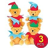 Baker Ross AV632 - Orsacchiotto di Peluche a Forma di Elfo di Natale, per Giocare ai Bambini, Perfetto per riempire la Calza della Befana, Confezione da 5, Colori Assortiti