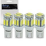 Safego 4x T10 W5W LED Bombillas exteriores 10 SMD 7020 Luz Coche trasera Lámpara Blanco Xenon Luz de interior 194 168 T10 Wedge Lampara para Coches luces de la matrícula luces laterales 12V