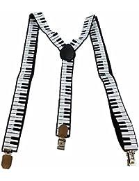 Herren Damen Long Hosenträger Y Form Style 3er Clips elastisch Schmal Bunt mit verschiedenen Motiv