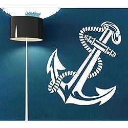 Antigua ancla retro vintage, diseño de barcos diseño de pared de vinilo pegatinas sala de estar adhesivo mural de vinilo blanco color